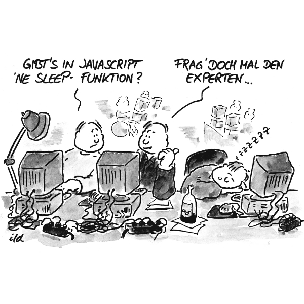 Computer-Cartoon: Gibt es in JavaScript eine Sleep-Funktion?